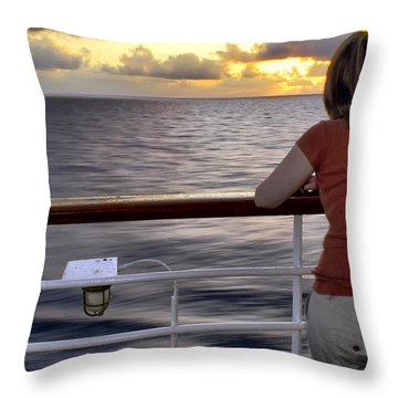 Watching The Sunrise At Sea Throw Pillow by Jason Politte