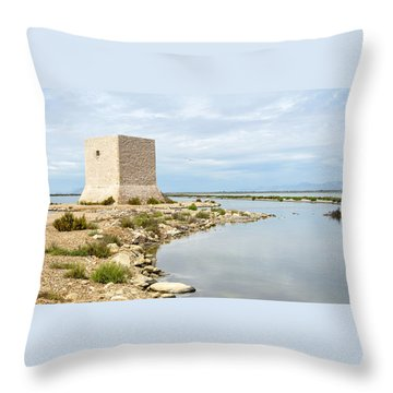 Watchtower In The Salt Lakes Throw Pillow by Tetyana Kokhanets
