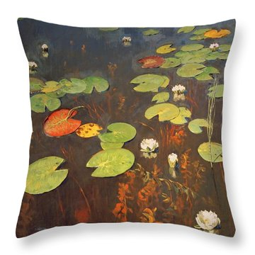 Water Lilies Throw Pillow by Isaak Ilyich Levitan