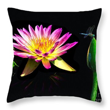 Water Lily Dragon Fly Throw Pillow by Nick Zelinsky