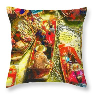 Water Market Throw Pillow by Mo T