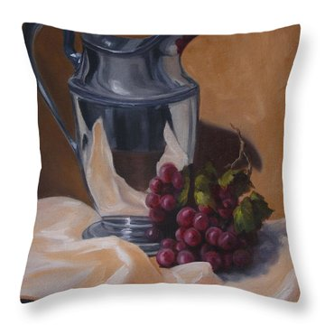 Water Pitcher With Fruit Throw Pillow by Lisa Phillips Owens
