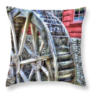 Water Wheel On Mill Throw Pillow by John Straton