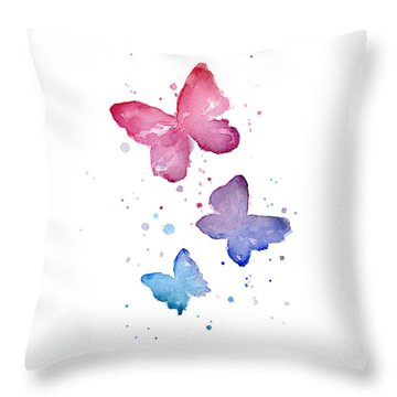 Watercolor Butterflies Throw Pillow by Olga Shvartsur