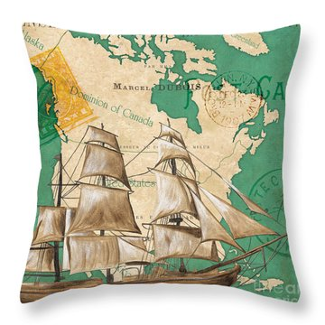 Watercolor Map 2 Throw Pillow by Debbie DeWitt
