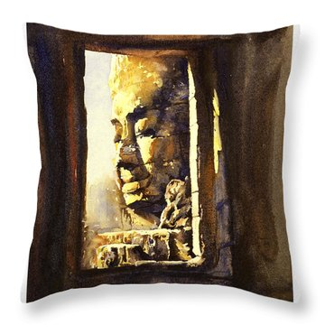 Watercolor Of Cambodian Temple Throw Pillow by Ryan Fox