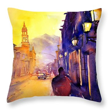 Watercolor Painting Of Street And Church Morelia Mexico Throw Pillow by Ryan Fox