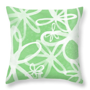 Waterflowers- Green And White Throw Pillow by Linda Woods