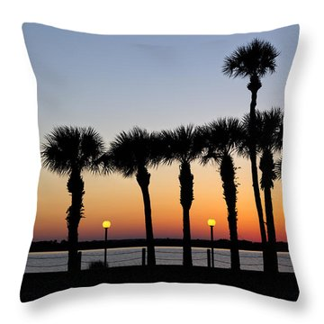Waterfront After Dark Throw Pillow by Debra and Dave Vanderlaan