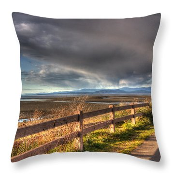 Waterfront Walkway Throw Pillow by Randy Hall