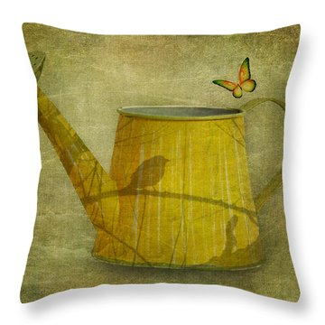 Watering Can With Texture Throw Pillow by Tom Mc Nemar
