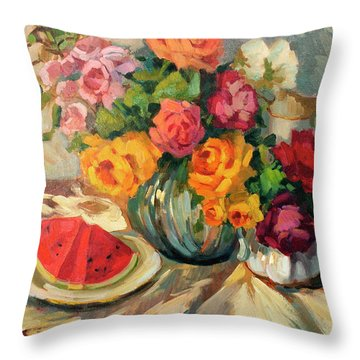 Watermelon And Roses Throw Pillow by Diane McClary