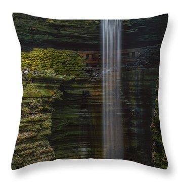 Watkins Glen Central Cascade Throw Pillow by Mark Papke
