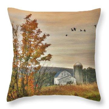 Watkins Glen Farm Throw Pillow by Lori Deiter