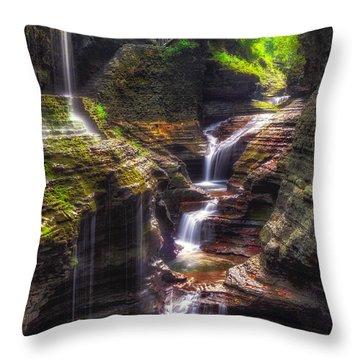 Watkins Glen Rainbow Falls Throw Pillow by Mark Papke