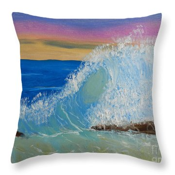 Wave At Sunrise Throw Pillow by Pamela  Meredith