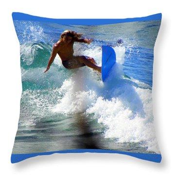 Wave Rider Throw Pillow by Karen Wiles