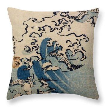 Waves And Birds Throw Pillow by Katsushika Hokusai