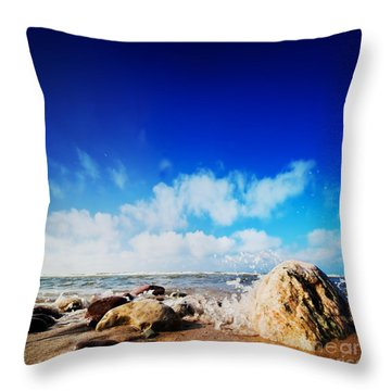 Waves Hiting Rocks On The Sunny Beach Throw Pillow by Michal Bednarek