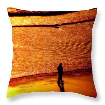 Waves Of Gold Throw Pillow by Karen Wiles