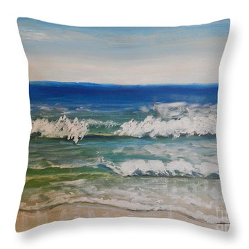 Waves Throw Pillow by Pamela  Meredith