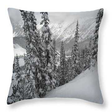 Way Up On The Mountain Throw Pillow by Kym Backland