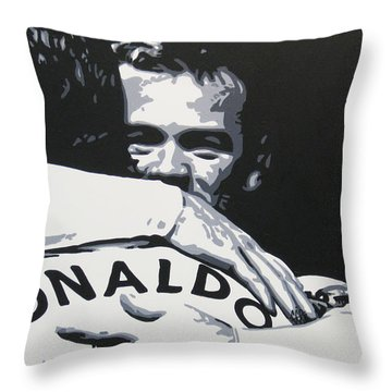 Wayne Rooney And Ronaldo - Manchester United Fc Throw Pillow by Geo Thomson