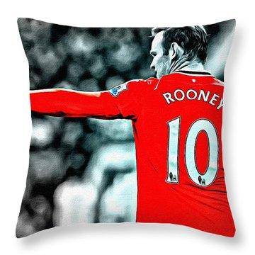 Wayne Rooney Poster Art Throw Pillow by Florian Rodarte