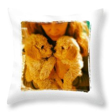Two Adorable Puppies Throw Pillow by Blenda Studio