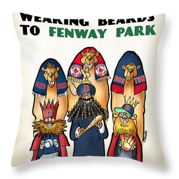 We Three Red Sox Fans Throw Pillow by Mark Armstrong