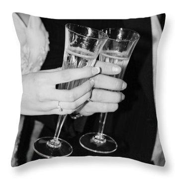 Wedding Toast Throw Pillow by Valerie Loop