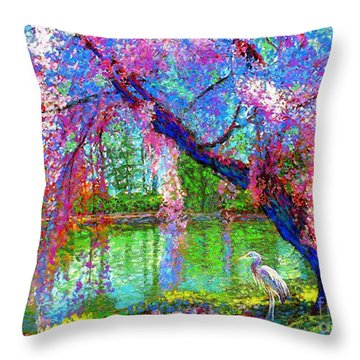 Weeping Beauty, Cherry Blossom Tree And Heron Throw Pillow by Jane Small