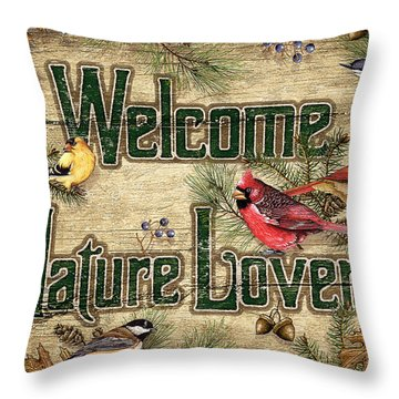 Welcome Nature Lovers Throw Pillow by JQ Licensing