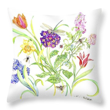 Welcome Spring I Throw Pillow by Kimberly McSparran