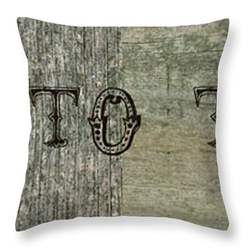 Welcome To The Cabin Throw Pillow by Michelle Calkins