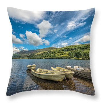 Welsh Boats Throw Pillow by Adrian Evans