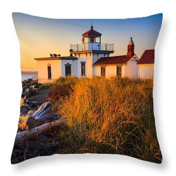 West Point Lighthouse Throw Pillow by Inge Johnsson