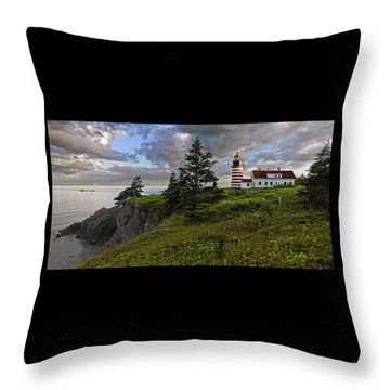 West Quoddy Head Lighthouse Panorama Throw Pillow by Marty Saccone