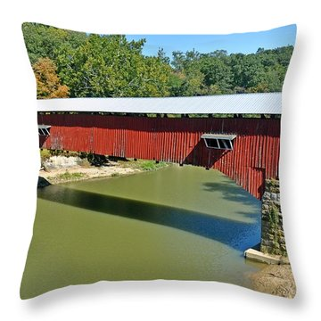 West Union Covered Bridge 2 Throw Pillow by Marty Koch