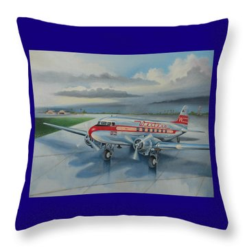 Western Airlines Dc-3 Throw Pillow by Stuart Swartz