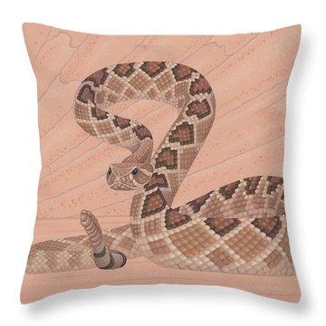 Western Diamondback Rattlesnake Throw Pillow by Nathan Marcy