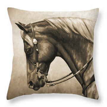 Western Horse Painting In Sepia Throw Pillow by Crista Forest