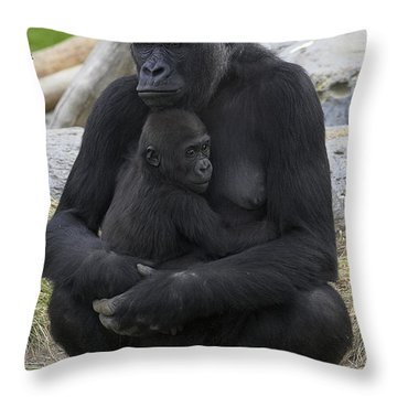 Western Lowland Gorilla Mother And Baby Throw Pillow by San Diego Zoo