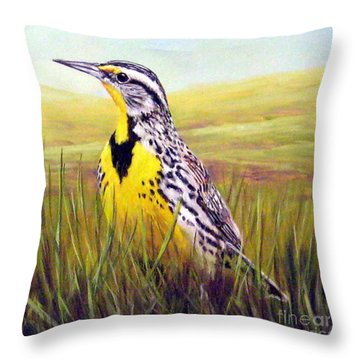 Western Meadowlark Throw Pillow by Tom Chapman