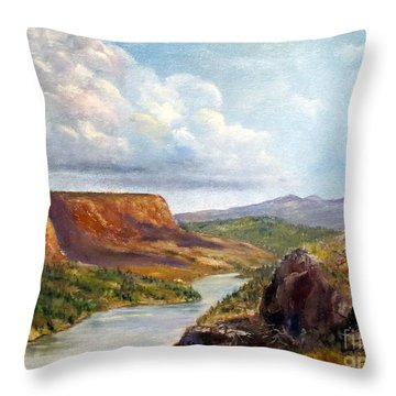 Western River Canyon Throw Pillow by Lee Piper