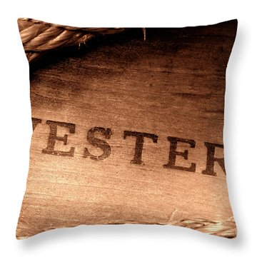 Western Stamp Branding Throw Pillow by Olivier Le Queinec