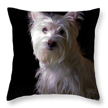 Westie Drama Throw Pillow by Edward Fielding