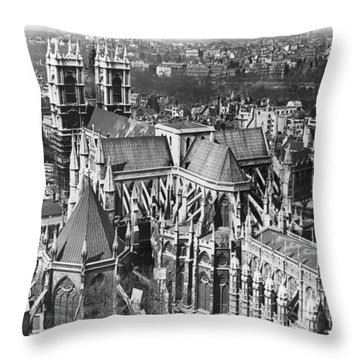 Westminster Abbey In London Throw Pillow by Underwood Archives