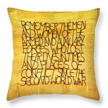 Westminster Military Memorial Throw Pillow by Stephen Stookey