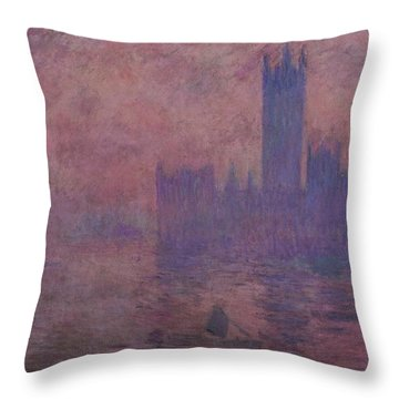 Westminster Tower Throw Pillow by Claude Monet